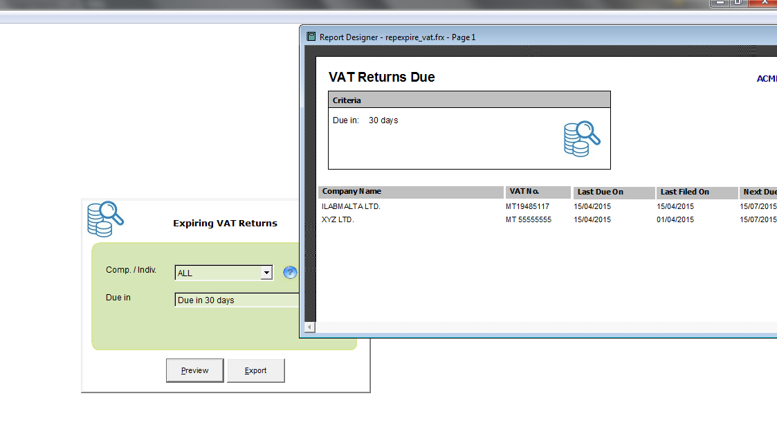 AudAssist - Reminds you of upcoming VAT Returns / Annual Returns / Income Tax Returns